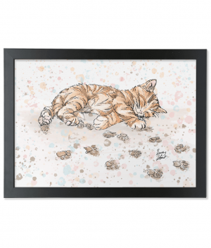 caffeine cat A3 black framed bamboo print