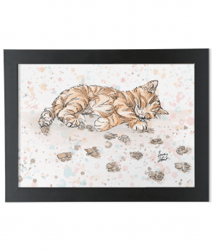 caffeine cat A4 black framed bamboo print