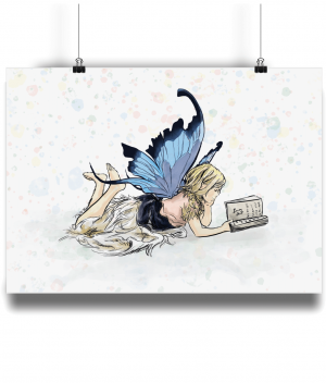 fairy reading A3 bamboo print