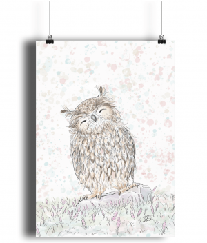 happy owl A3 bamboo print