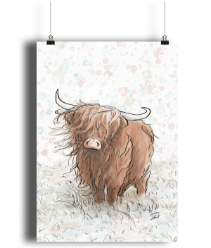 highland cow A3 bamboo print